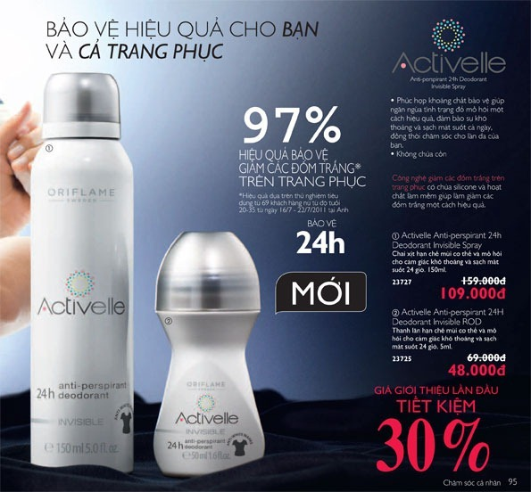 Thanh lăn và chai xịt khử mùi Oriflame Activelle Anti-perspirant 24h Deodorant Invisible (23725, 23727)